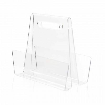 Porta-revistas de plexiglás transparente moderno, fabricado na Itália - Immoral