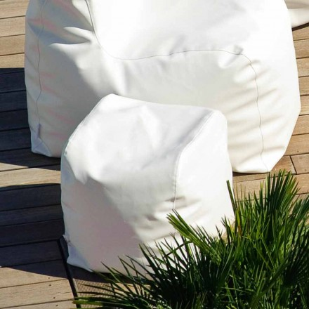 Pufe ao ar livre de couro faux marinho Trona, design moderno, feito na Itália
