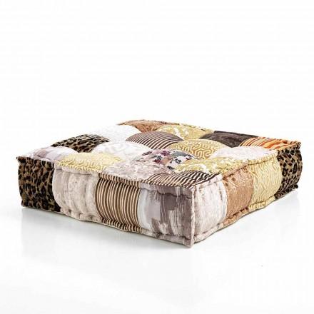 Pufe quadrado étnico em tecido de retalhos ou veludo - fibra