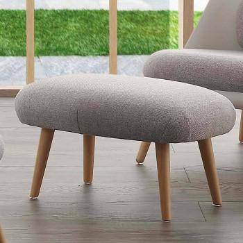 Pufe de design em madeira de faia e tecido moderno fabricado na Itália Arezzo