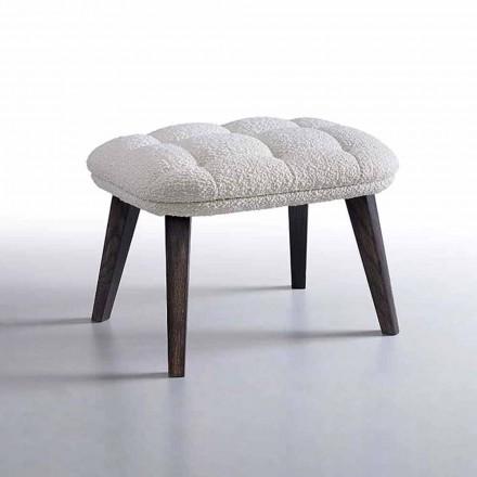 Pufe Design Coberto de Tecido com Base de Madeira Made in Italy - Clera