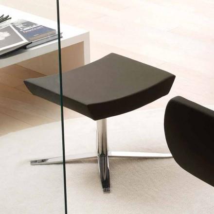 Pufe de escritório moderno em couro ecológico e alumínio - Clio