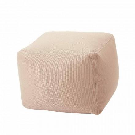 Pufe quadrado macio para interior e exterior em tecido de várias cores - Naemi