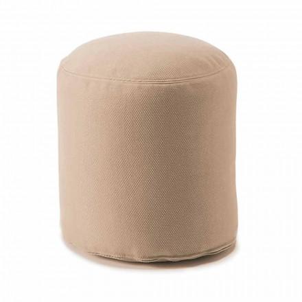 Pufe redondo macio para sala de estar interna ou externa em tecido colorido - Naemi