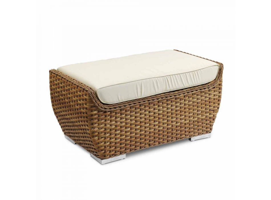 Banco ao ar livre pufe em tecido de vime sintético design luxuoso - Yves