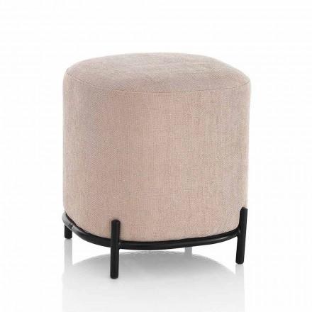 Pufe quadrado moderno estofado e coberto com tecido rosa pólvora - Pocus