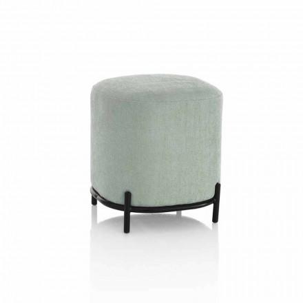 Pufe redondo para sala de estar em tecido verde ou cinza com design moderno - Ambrogia