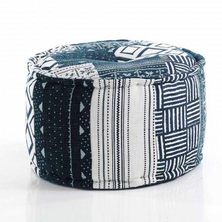 Pufe redondo de design étnico em tecido de retalhos ou veludo - fibra