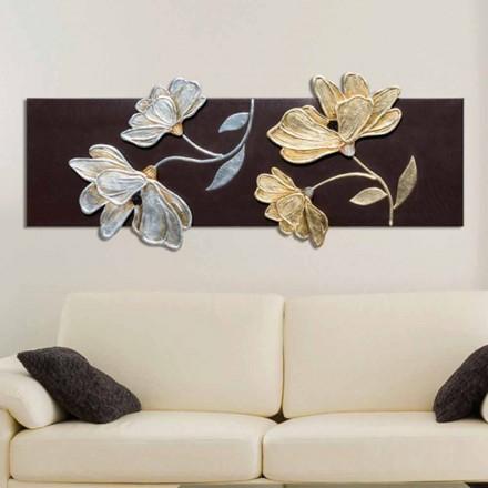 Floral pintura Herman, decorado com folha de ouro e prata