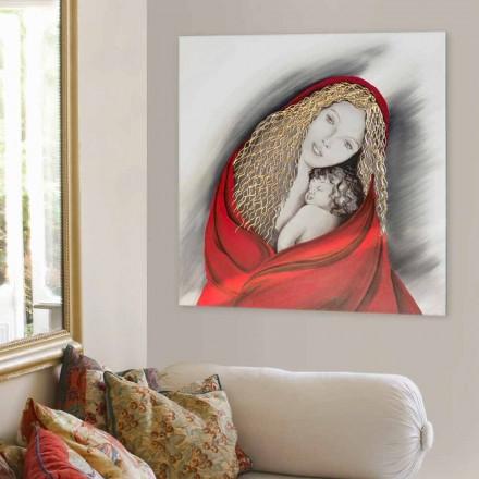 Pintura decorada à mão Madonna by Viadurini Decor, feita na Itália