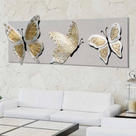 Pintura moderna com 3 borboletas em relevo Stephen