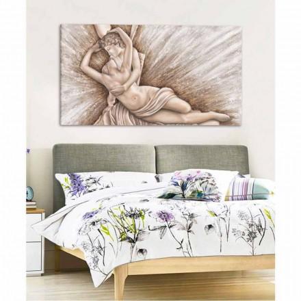 Psique Revivido pelo Beijo do Cupido pintura sobre tela Aurora made in Italy