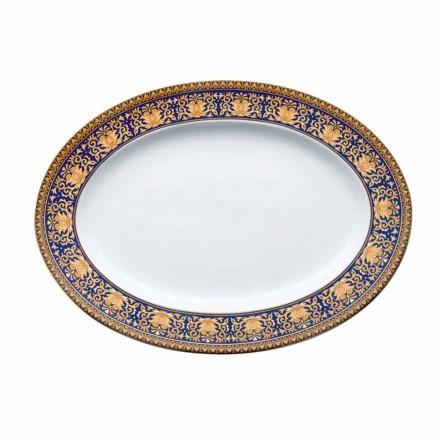 Rosenthal Versace Medusa Azul design moderno placa de porcelana oval