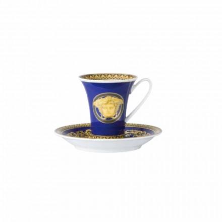 Rosenthal Versace Medusa Xícara de café de porcelana azul, design de luxo
