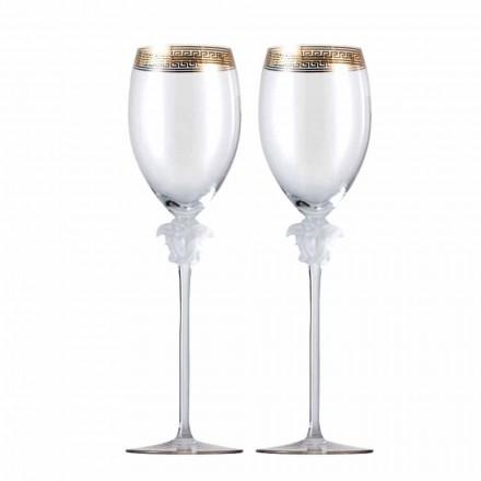 Rosenthal Versace Medusa D'Or conjunto de 4 copos de cristal de vinho branco
