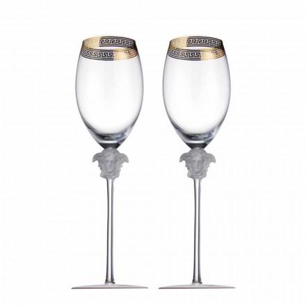 Rosenthal Versace Medusa D'Or conjunto de 4 taças de cristal de vinho tinto