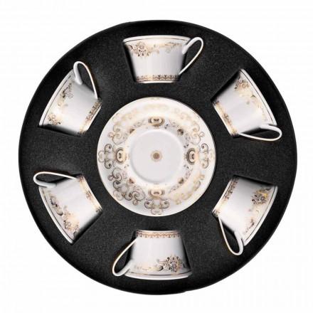 Rosenthal Versace Medusa Gala Chávena de chá de ouro com pires, conjunto de 6 peças.