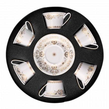 Rosenthal Versace Medusa Gala xícara de chá com pires, conjunto de 6 peças.