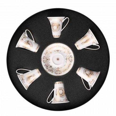 Rosenthal Versace Medusa Gala Copo de café expresso com pires, conjunto de 6 peças.