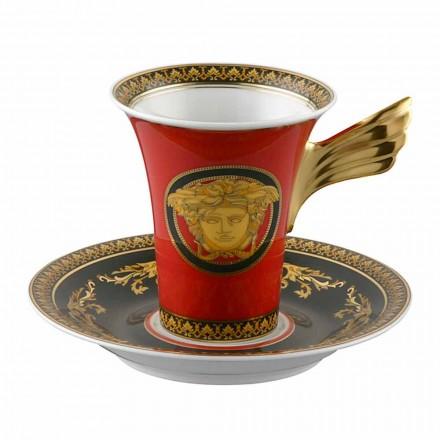 Rosenthal Versace Medusa Rosso porcelana alto caneca