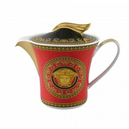 Bule de luxo Rosenthal Versace Medusa Rosso com tampa de porcelana