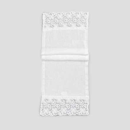 2 Table Runner 100% Linho com Luxo Renda Branca Made in Italy - Trionfo