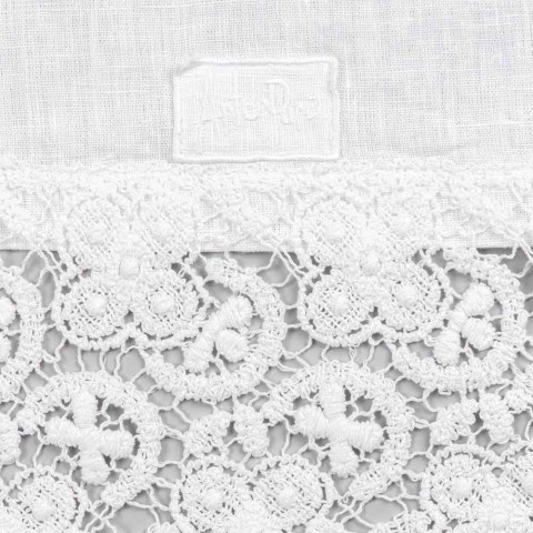 Corredor de mesa 100% linho com renda branca luxuosa feita na Itália - Triunfo