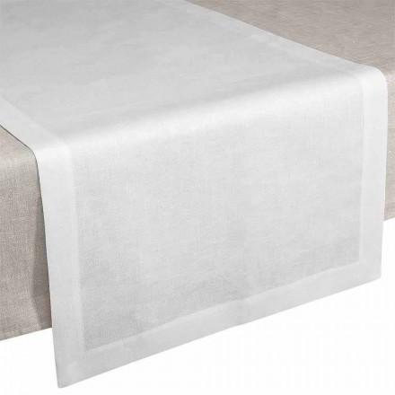 Corredor de Mesa em Linho Branco Creme 50x150 cm Fabricado na Itália - Papoula