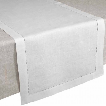 Caminho de mesa em linho branco creme, fabricado na Itália - Chiana