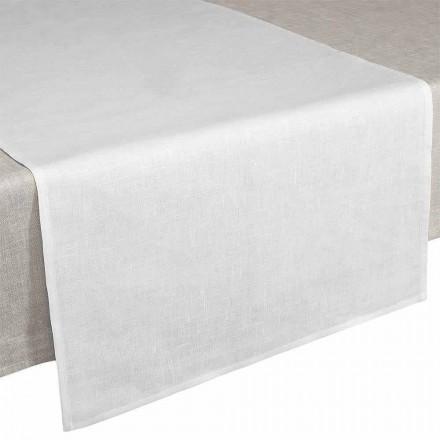Corredor de mesa 50x150 cm em Creme Branco Puro Linho Fabricado na Itália - Blessy