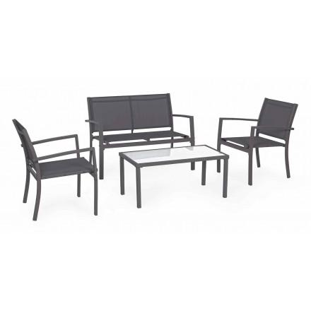 Lounge de jardim em aço e textilene, sofá, poltronas e mesa de centro - Osseo