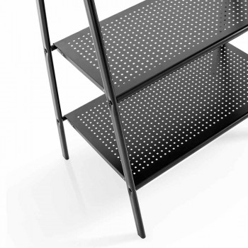 Cabide Escada com Haste e 2 Prateleiras em Metal Pintado Preto Mate - Tremoço