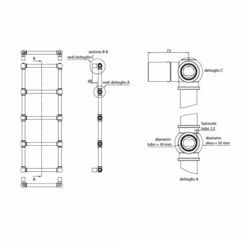 Aquecedor Hidráulico de Toalhas Modular Tubo de latão cromado 194 W - Caesar