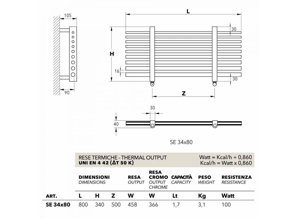 Toalheiro elétrico horizontal Selene made in Italy Scirocco H