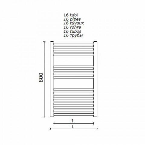 Aquecedor de toalhas de design de aço inoxidável montado na parede para banheiro, 2 tamanhos 391 W - Italo