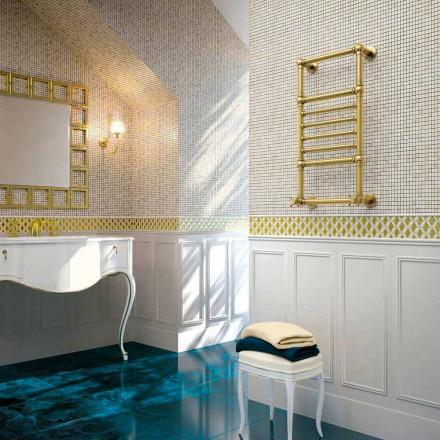 Aquecedor de toalhas hidráulico em latão dourado Scirocco H Amira fabricado na Itália