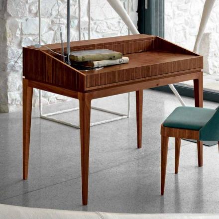 Escrivaninha de design moderno Acario em madeira de nogueira, L 105 x W 65 cm