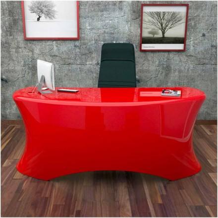 Mesa de escritório moderna Ely, fabricada na Itália, disponível em preto, branco, vermelho