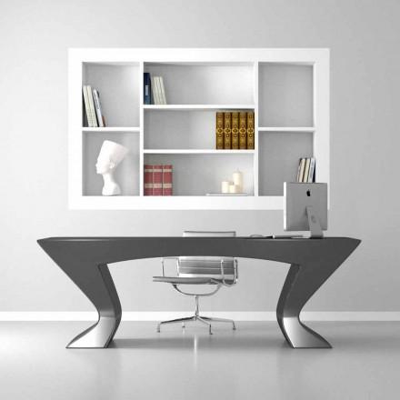 Mesa de escritório design moderno Nefertiti, feito de superfície sólida e madeira