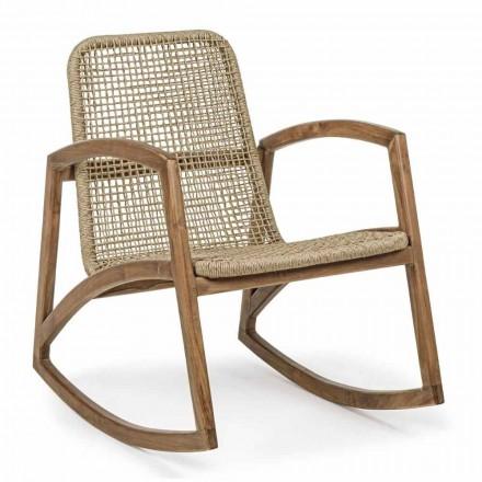 Cadeira de Balanço Exterior em Teca Teca e Tecelagem de Fibra Sintética - Tosca