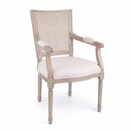 Cadeira Clássica com Apoio de Braços em Madeira de Freixo e Tecido Homemotion - Merengue