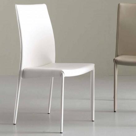 Cadeira moderna totalmente revestida em couro sintético - Eloisa