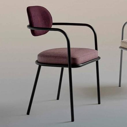 Cadeira Design Vintage com Apoio de Braços em Aço e Tecido Colorido - Ula