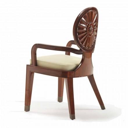 Poltrona design moderno com braços Nicole, estrutura lisa de madeira