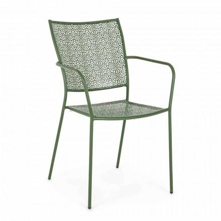 Cadeira de jardim com braços Empilhável Aço decorado - Chinelo