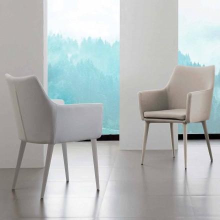 Cadeira com braços Carlina, com estofamento em couro ecológico