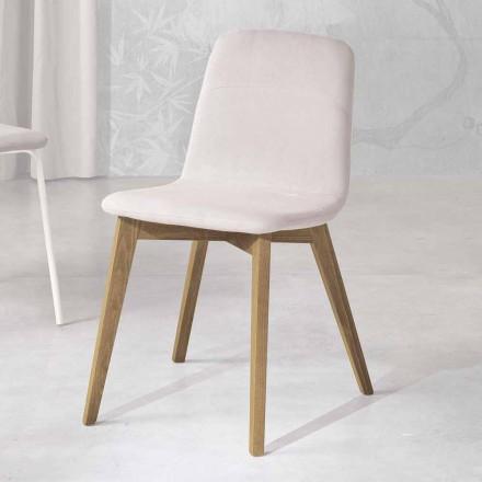 Cadeira de design em madeira e tecido para cozinha feita na Itália, Egizia