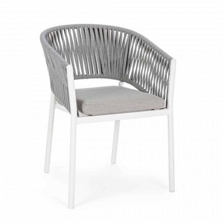Cadeira de exteriores com braços em alumínio branco e cinza Homemotion - Rubio