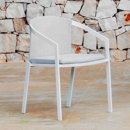 Cadeira de alumínio ao ar livre com ou sem almofada, de alta qualidade, 4 peças - Filomena