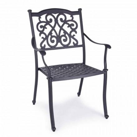 Cadeira empilhável ao ar livre em alumínio branco ou antracite, 4 peças - ode